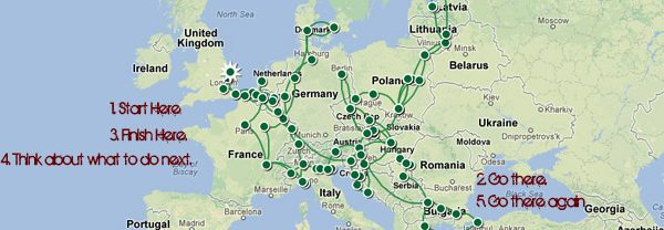 Hitchhiking 24 Countries Map