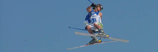 Skier jumping and twisting