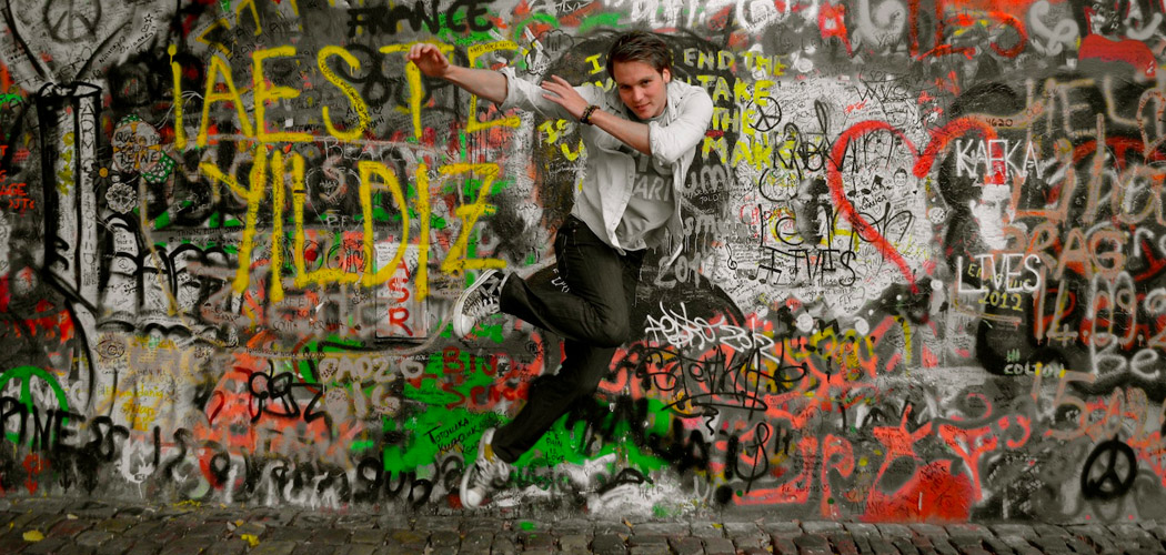 John Lennon Wall, Prague - Jump