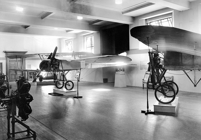 'Bleriot No X Channel aircraft on display, Science Museum, London, May 1939' by 'Science Museum London' is available at http://www.flickr.com/photos/sciencemuseum/3322439526/ under a Creative Commons Attribution 3.0. Full terms at http://creativecommons.org/licenses/by/3.0/