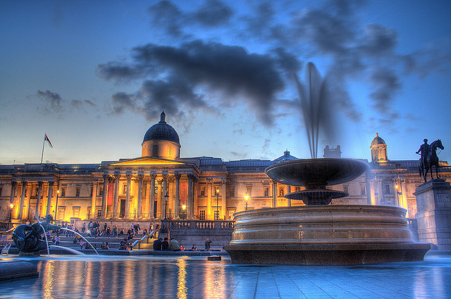 'The National Gallery on Trafalgar Square' by Maurice' available at http://www.flickr.com/photos/mauricedb/2742966709/ under a Creative Commons Attribution 3.0. Full terms at http://creativecommons.org/licenses/by/3.0/