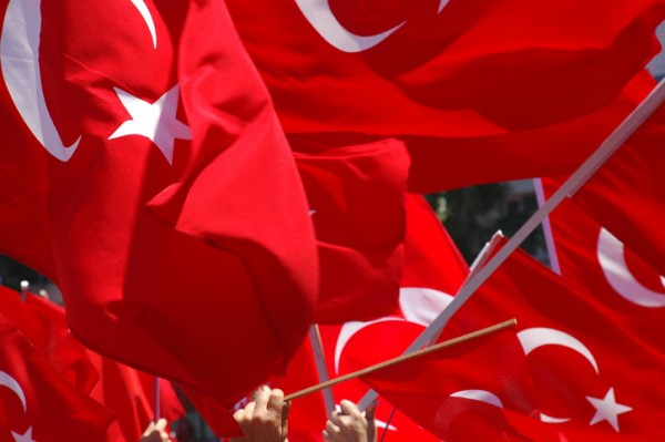 Turkish Flags Waving