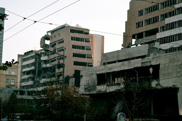 A bombed building in Belgrade