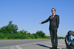 Hitchhiking in a Suit in Bulgaria